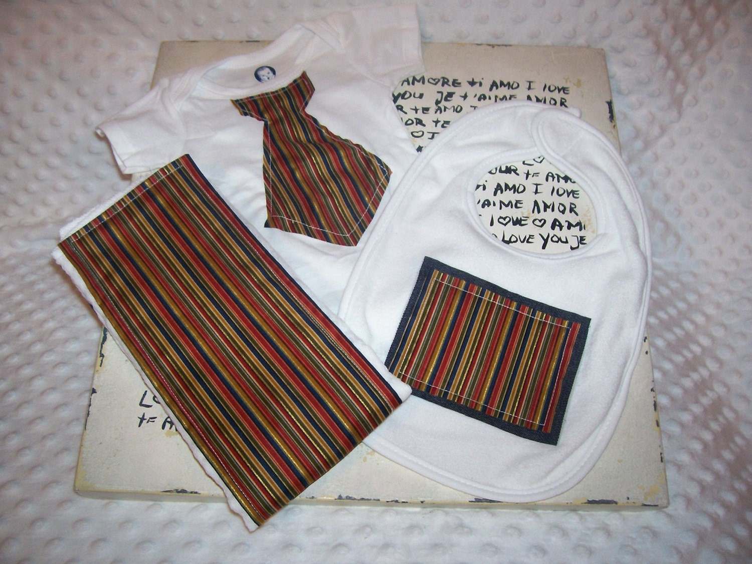 Baby Boy Striped Tie Onesie, Bib, and Burp Cloth