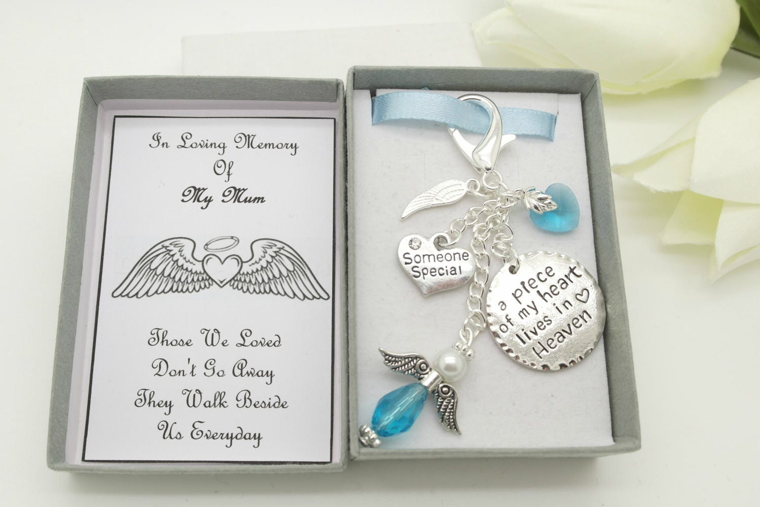 In loving memory keyring. Blue angel keychain. Sympathy gift. Remembrance keepsake. Mum. Dad. Grandma. Grandad. Memorial gift. Funerals