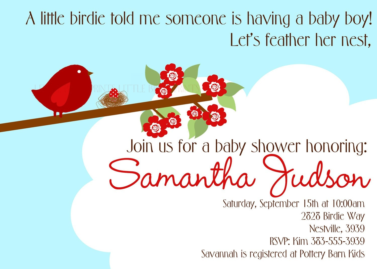 BIRDIE WITH NEST Baby Shower or Birthday Invitation. Boy Girl Options. Personalized and Printable