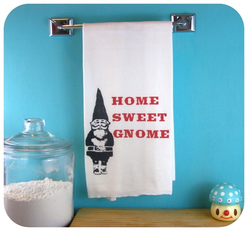Kitchen Towel Gnome Home Sweet Gnome Red Gnomes By