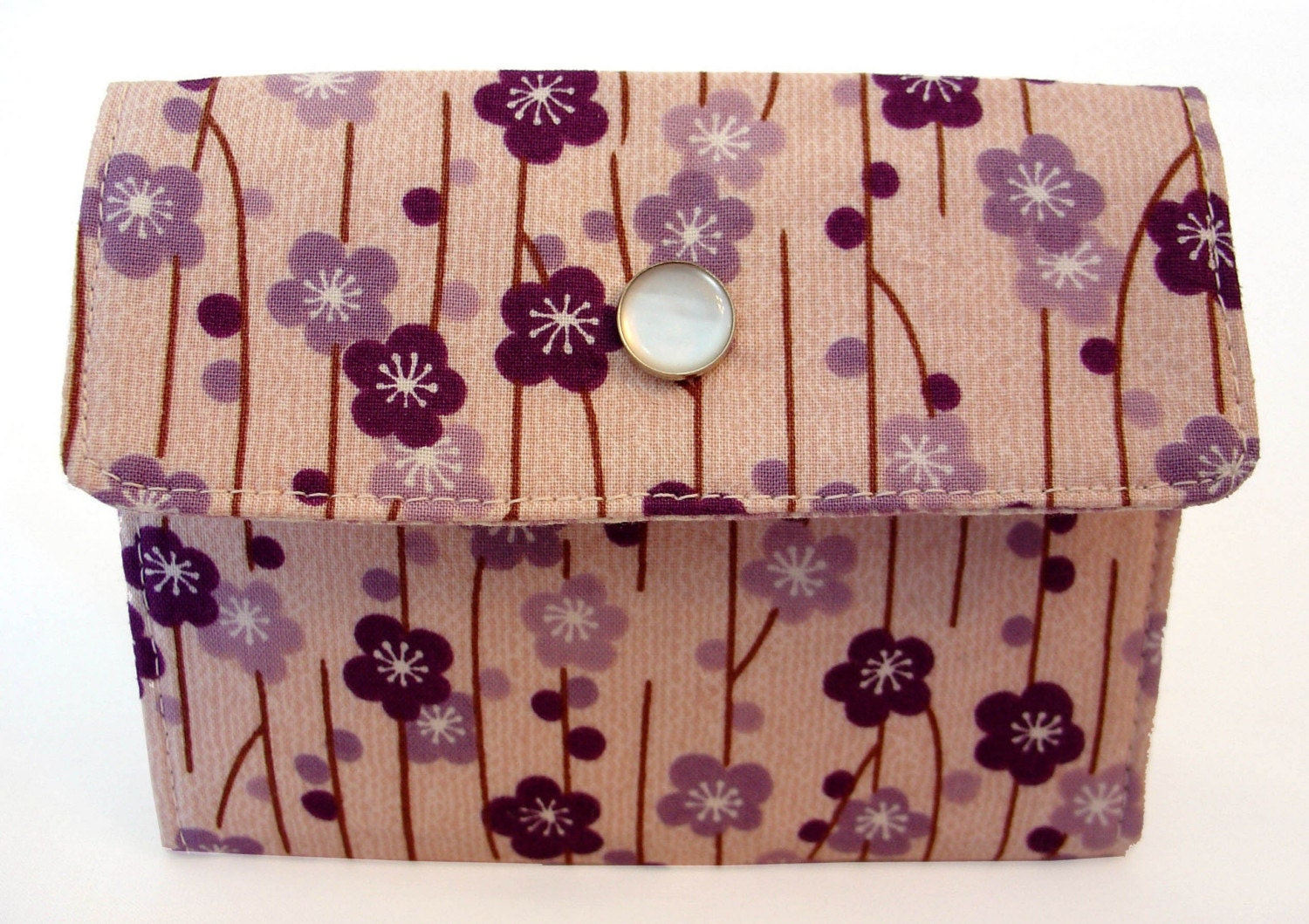 Purple sakura blossoms 3 pocket flip wallet : Asian iCandy Store, Unique Asian Arts and Gifts From Independent Artists :  asian-inspired cherry blossom handmade wallet