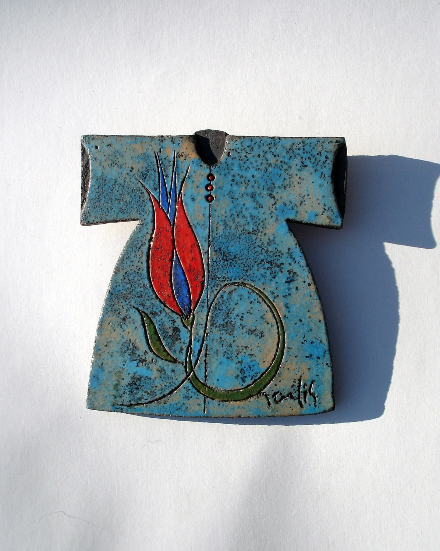 Raku Fired Blue Ceramic Caftan with Red Tulip