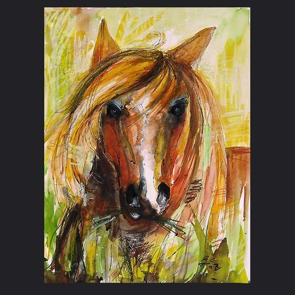 REDUCED Stallion In Tall Grass - Original Painting by Ginette Callaway