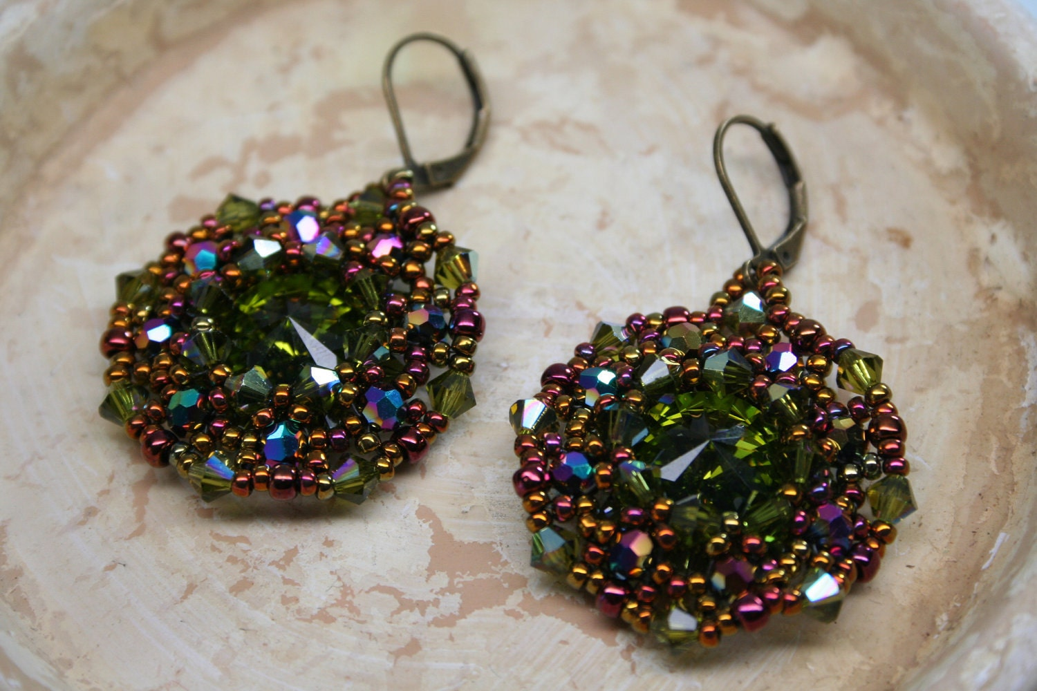 Olive Green Crystal Eye Beaded Fancy Earring
