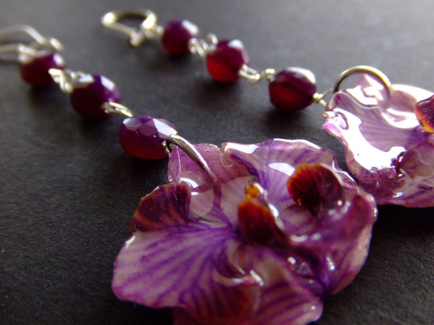Handmade Jewelry on Etsy - BUY 2 GET 1 FREE SALE-- real preserved PASSION PURPLE ORCHID 4inch long earrings by BelaBrazilianDesigns from etsy.com