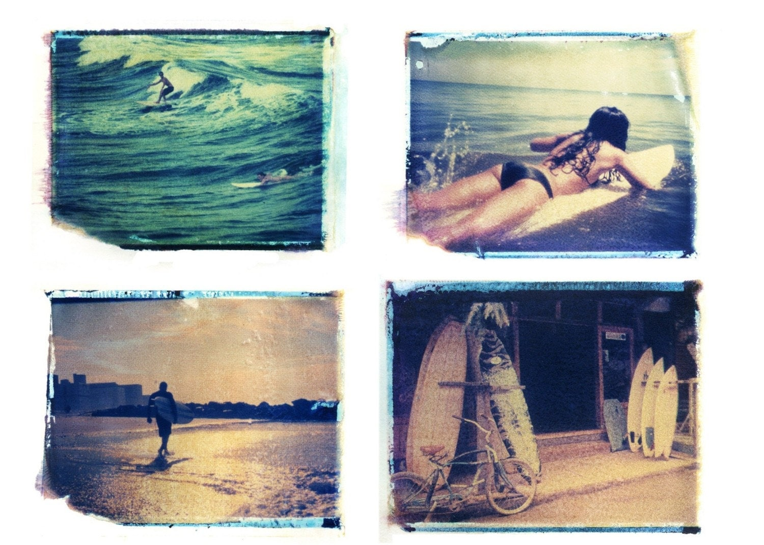 set of four -4x5 surfing polaroid transfers-individually matted in 8x10-signed