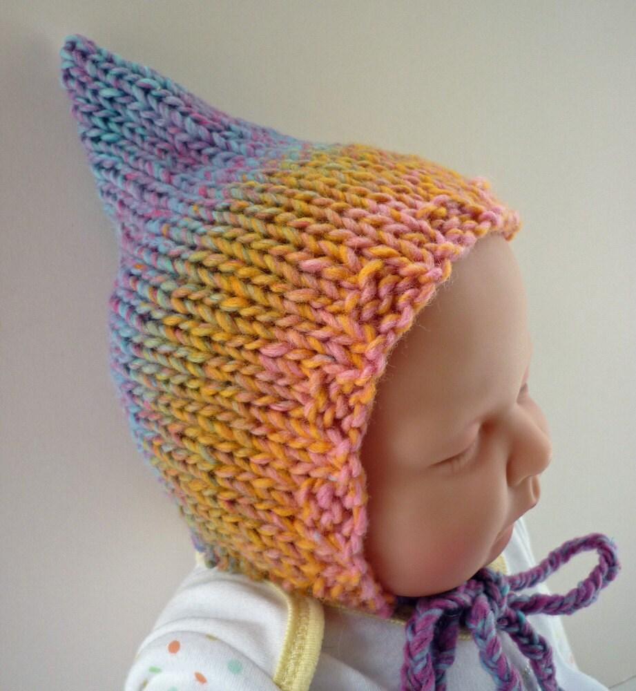 Knitting Patterns Rainbow Babies : Items similar to Knitting Pattern Baby Pixie Hat RAINBOW ...
