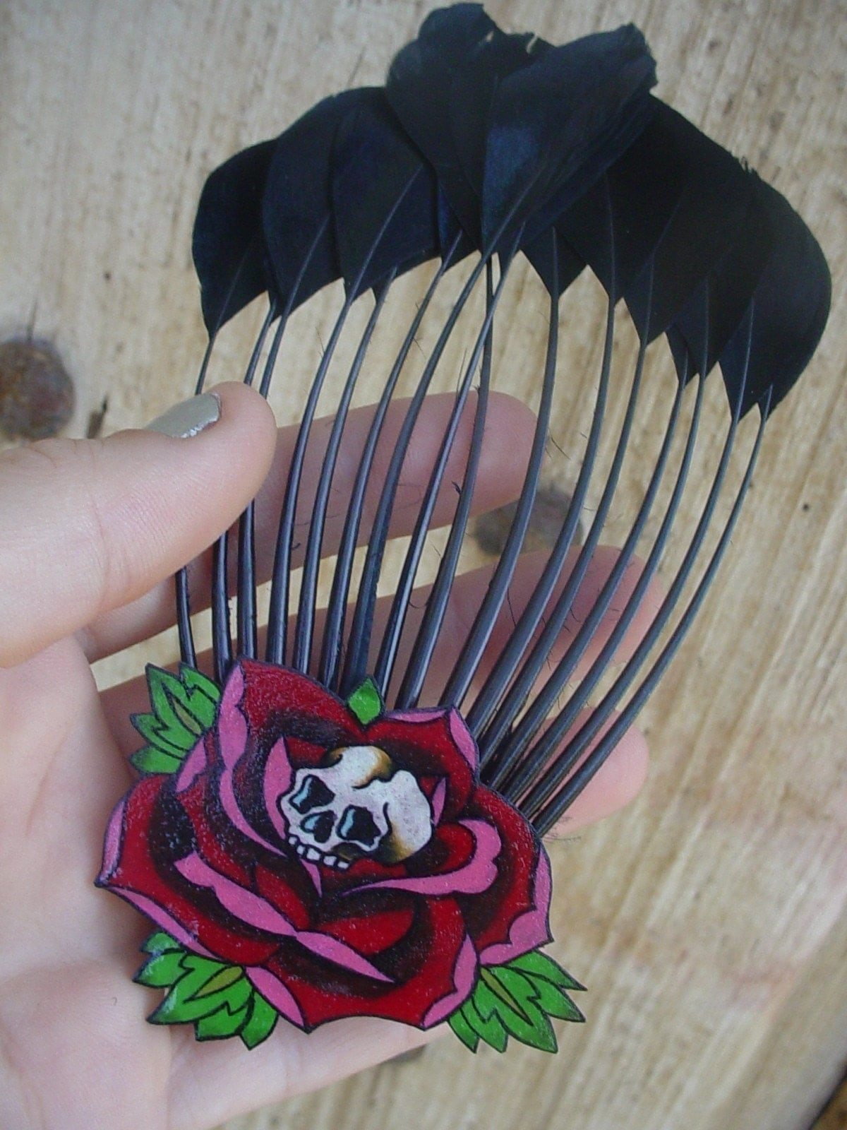 vintage tattoo skull and rose burlesque hair pin with black feathers