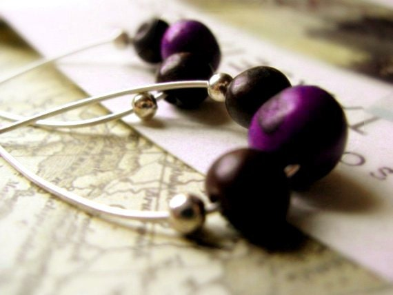 Acai Hoop Earrings - Sterling Silver / Deep Purple & Coffee Brown - TaniaCaveneciaTorres