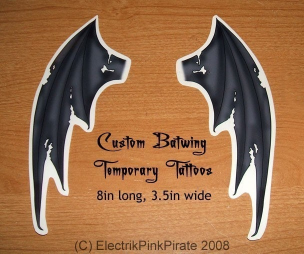 Large Custom Batwing Temporary tattoos set of 4. From ElectrikPinkPirate