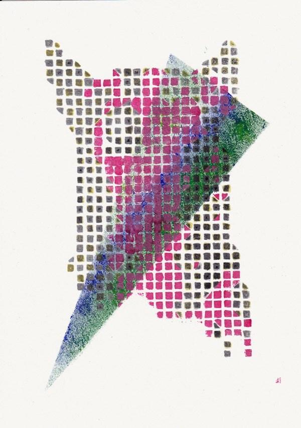 Triangle Dog Pink Silver Gold - Original Acrylic Painting - Katlix