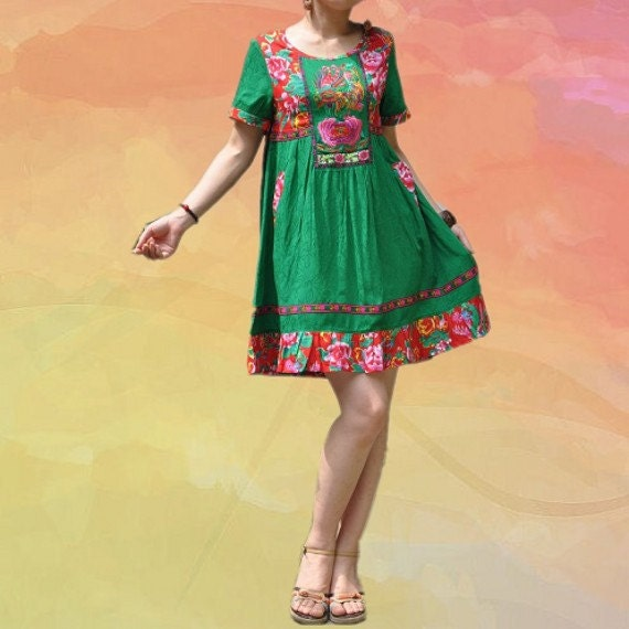 Cotton Patchwork Embroidery High waist short sleeve dress