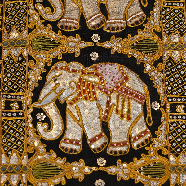 Elephant Wall Hanging Kalaga Needle Work By CozyTraditions