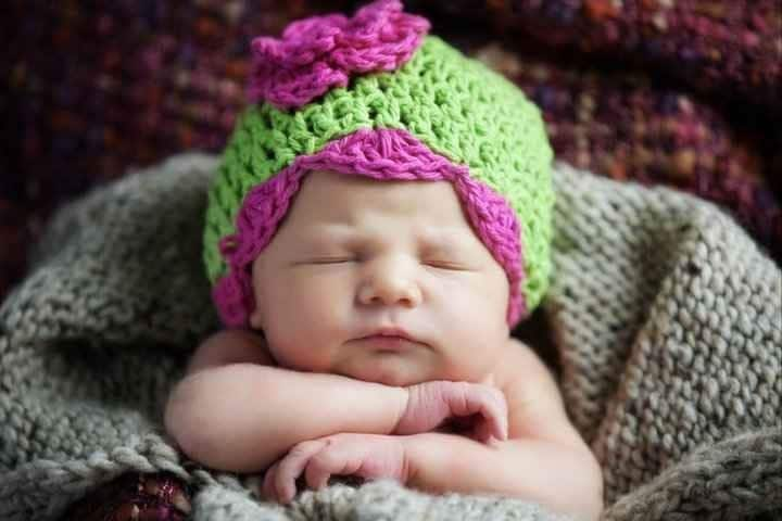 Pink and Green Newborn Shell Beanie