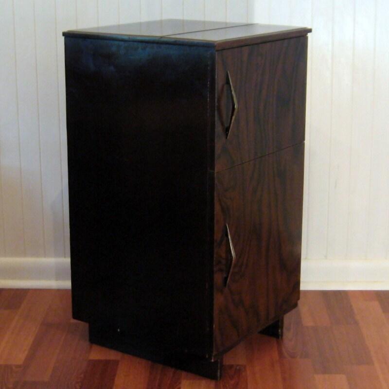 mid century vinyl record storage furniture by. Black Bedroom Furniture Sets. Home Design Ideas