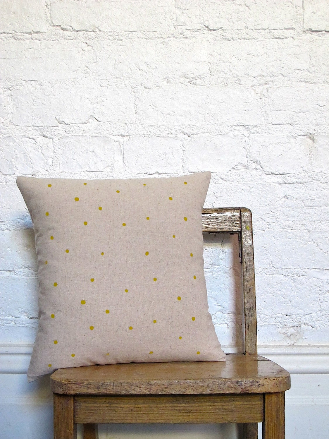 Hand Printed Polka Dot Cushion Cover - Mustard