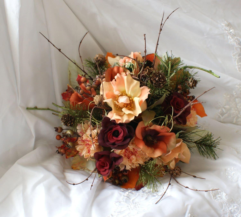 Fall Wedding Bouquets Fake : Lovely autumn silk wedding bouquet by tymburridgedesign on