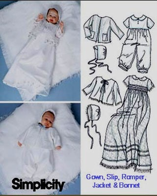 Babies Christening Gown, Slip Sewing Pattern 5813 Simplicity