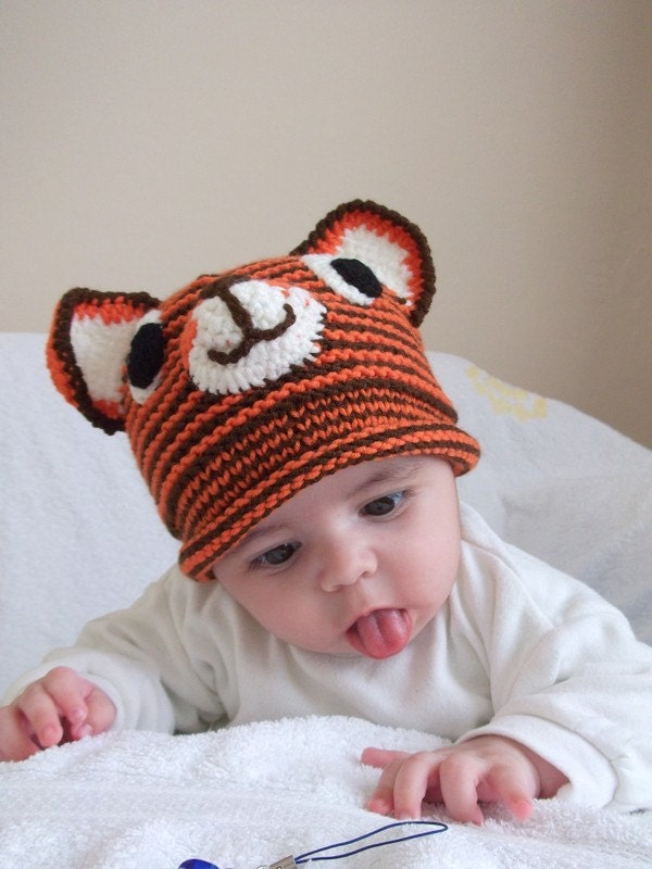 Tiger Hat -Knitting Baby  Hat  - for Baby or Toddler