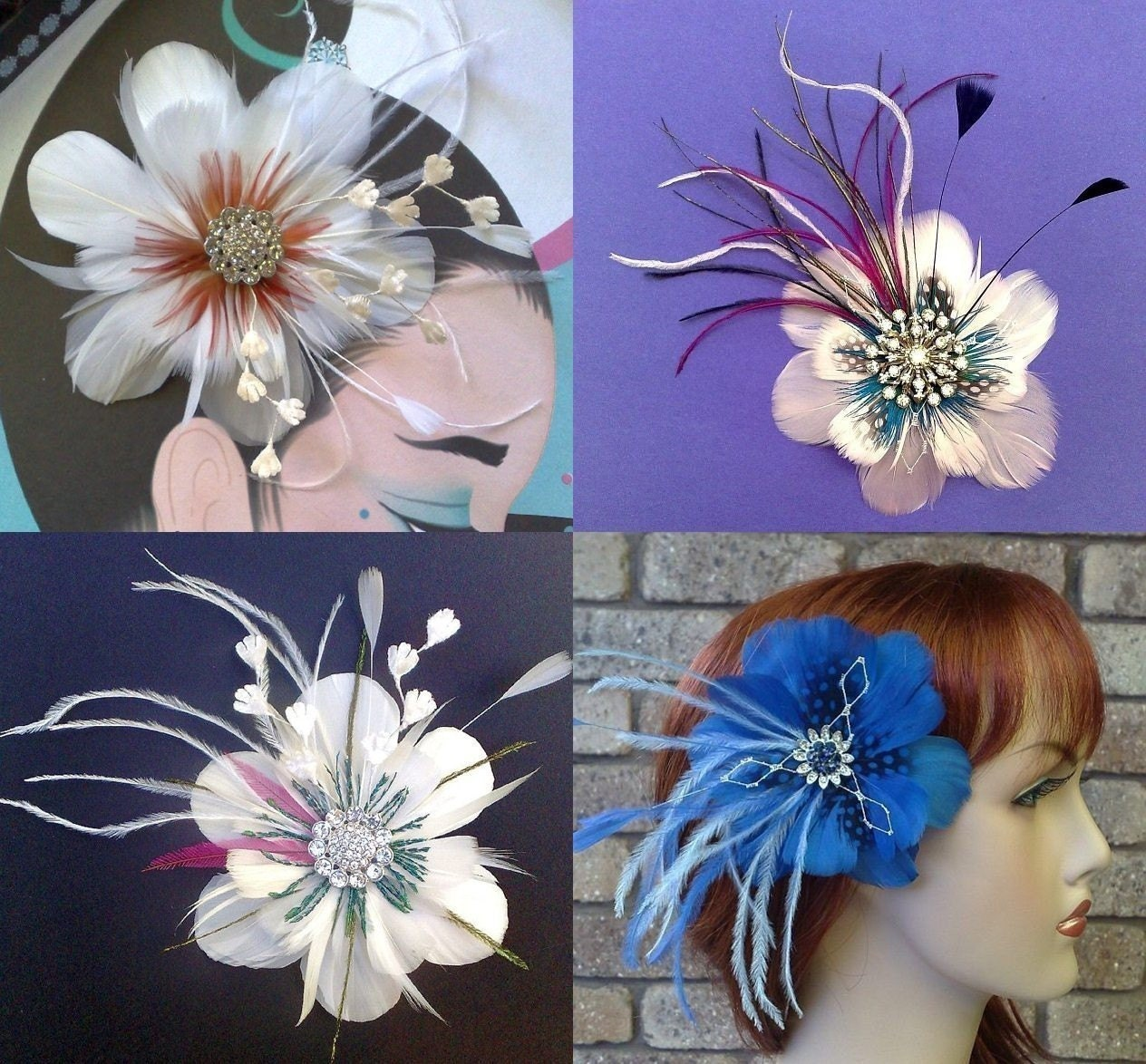 Peacock Feather Flower Fascinator Crystal  ART NOUVEAU NIRVANI - CUSTOM
