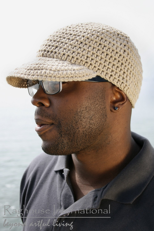 Crochet Sports Cap In Linen LARGE by raghousenternational on Etsy