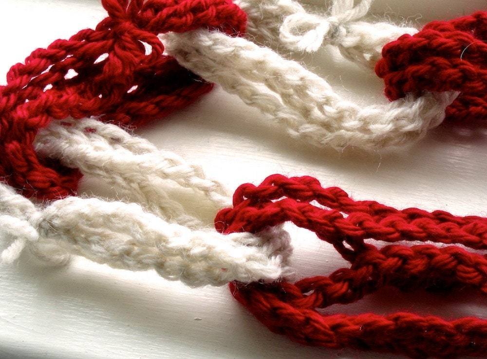 Red and White Crocheted Chain Garland for Valentine's Day