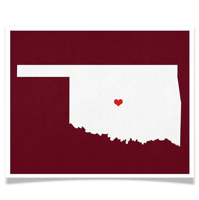 Oklahoma state map custom personalized heart print by