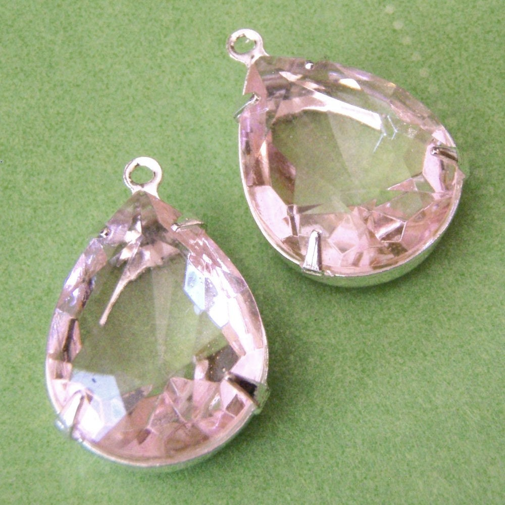 Sheer Pink Vintage Glass Pear Jewels in Silver PLated Settings