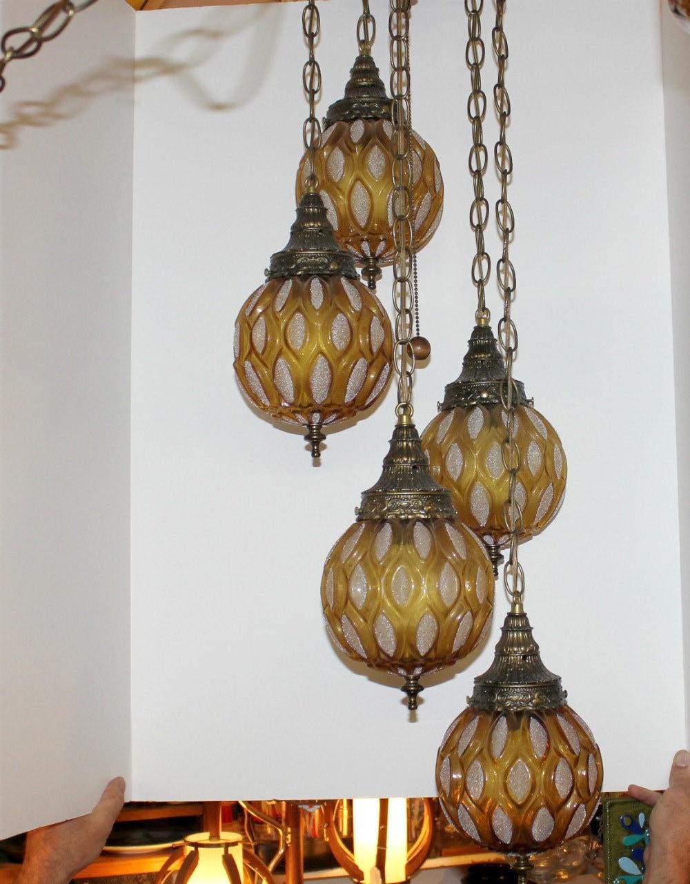 vintage 5 globe swag lamp light ceiling 3 way adjustable hanging. Black Bedroom Furniture Sets. Home Design Ideas