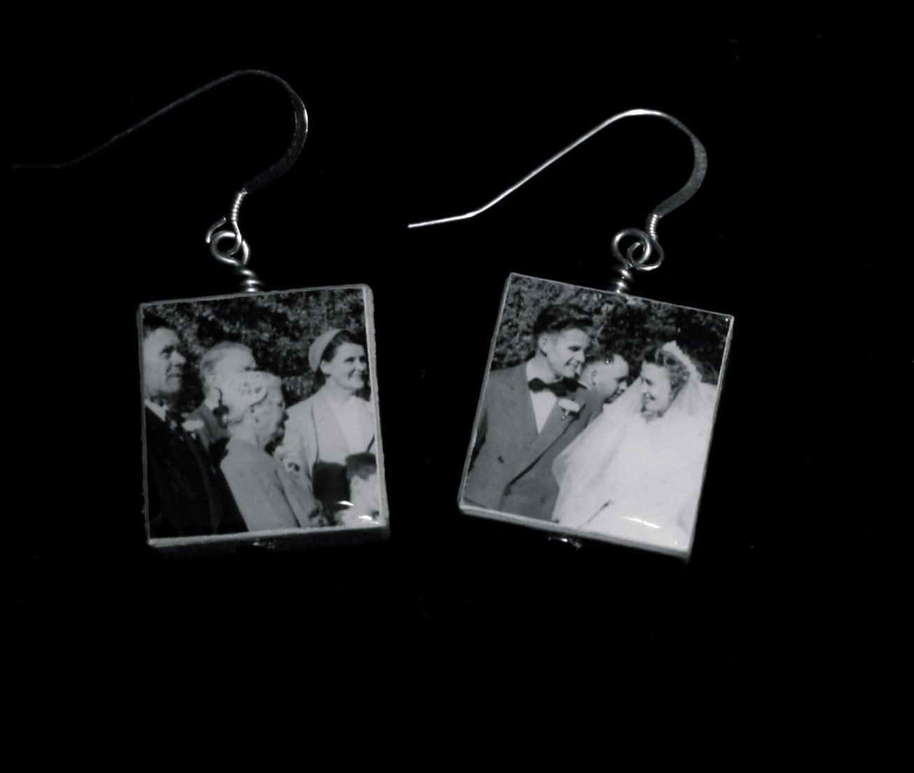 Vintage Wedding Photo Bride and Groom Scrabble Tile Earrings
