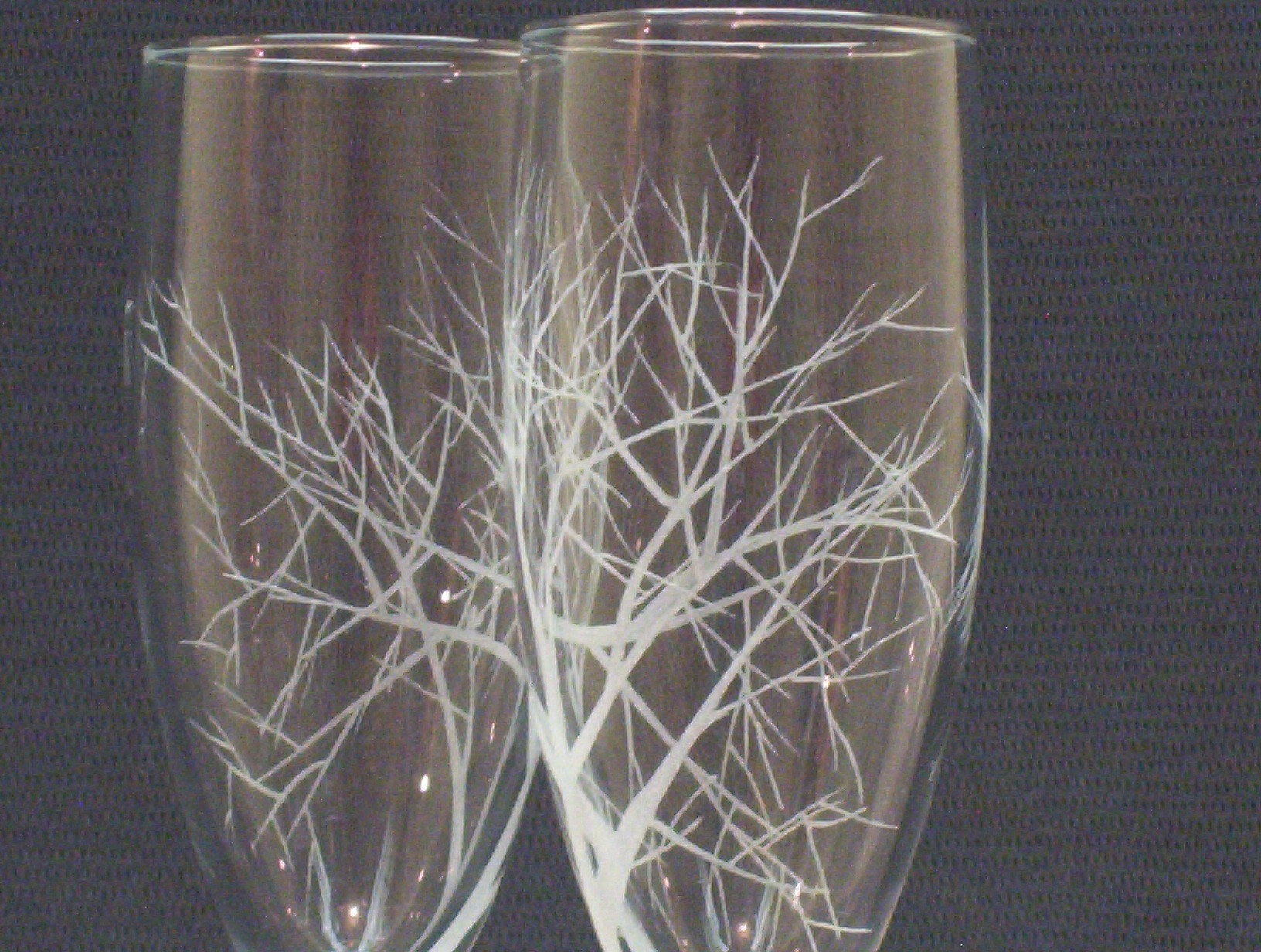 Etsy :: daydreemdesigns :: Reaching Branches, Engraved Champagne Glasses from etsy.com