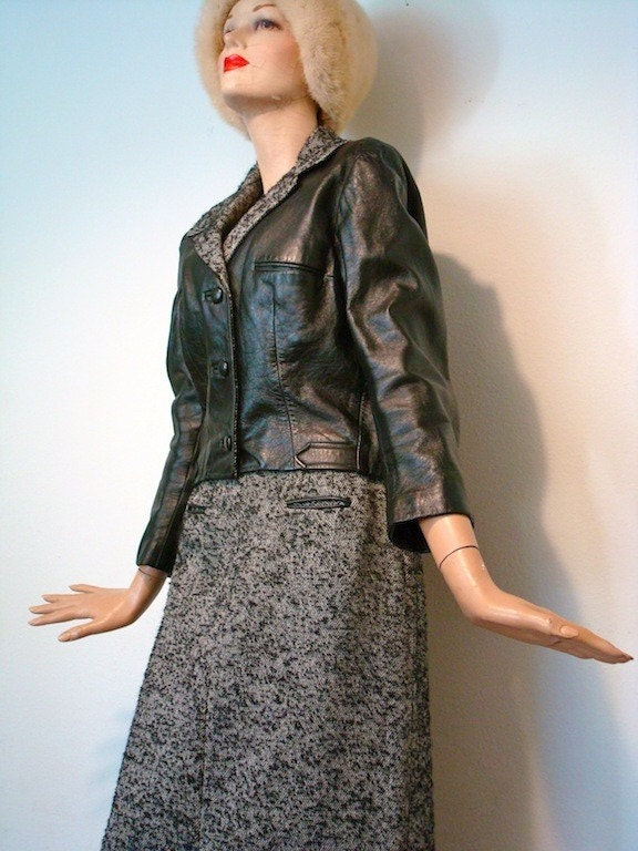 vintage black leather jacket and  black and cream wool boucle pencil skirt set