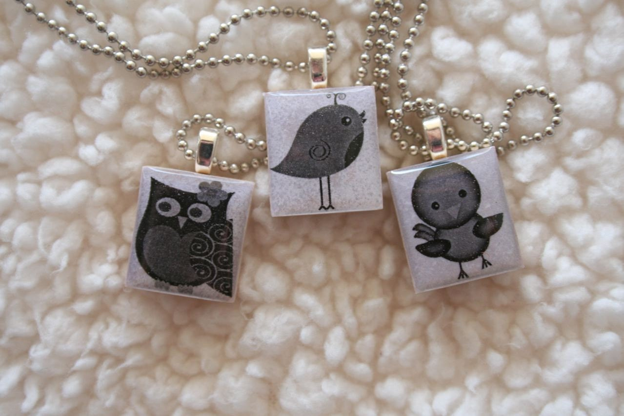 Owl Bird Scrabble Necklace
