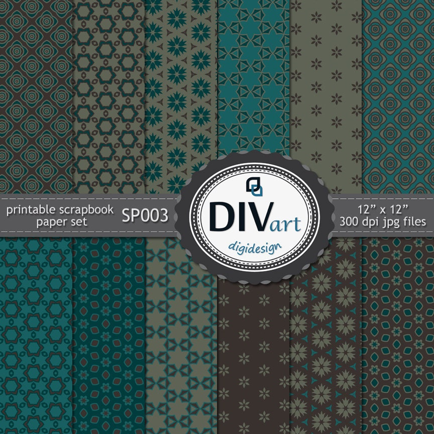 Printable scrapbook paper set - SP003 - for cards, invitations, stationary, albums - brown & turquoise