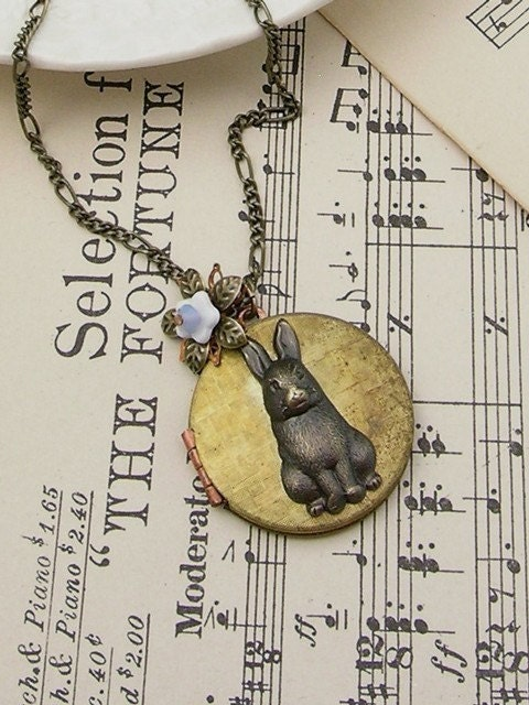 Bronze vintage bunny rabbit locket.