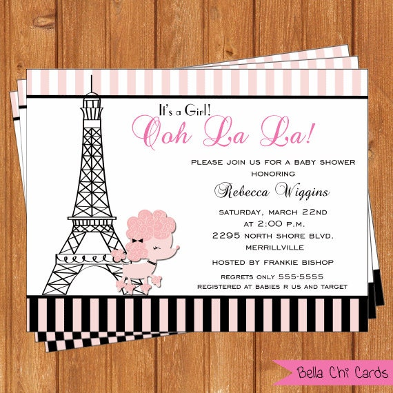 poodle in paris baby shower invitations bsi293diy 5 5 x editable