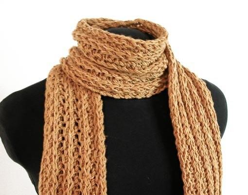 Hand Knit Scarf Soft Merino Continental Rib Deep Gold - Item 929 - KnotChaCha
