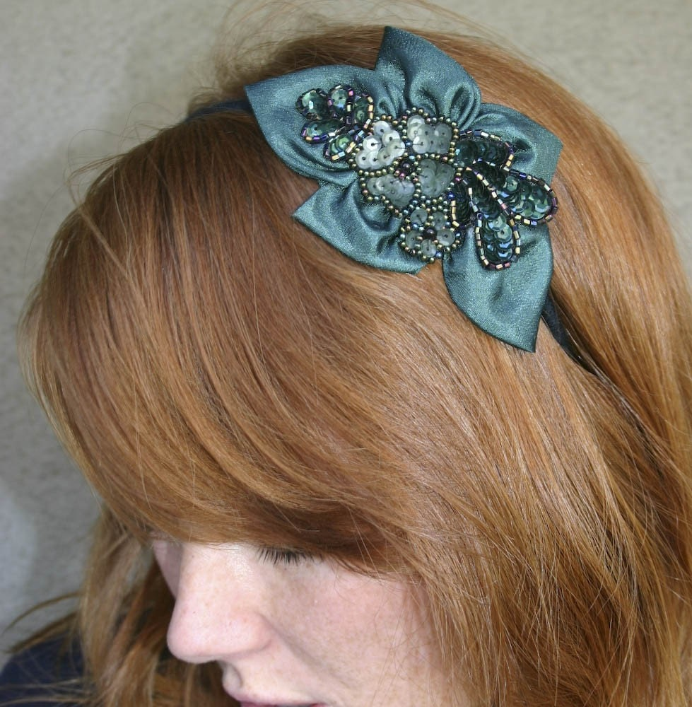forest green beaded flower headband