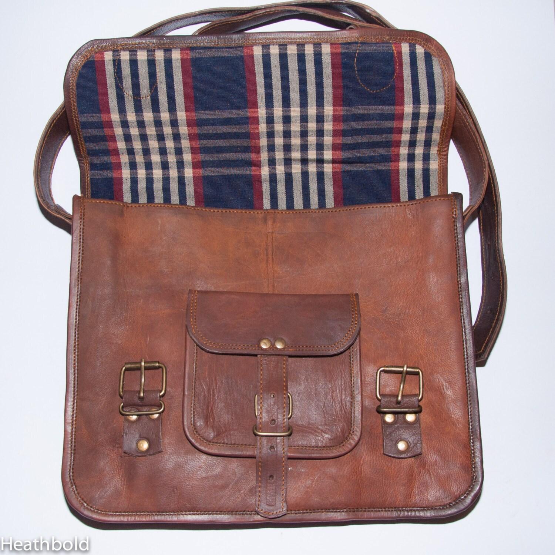 Heathbold IncantoClassic tobacco brown full grain leather laptop satchel bag. Monogram engraving option. Large for 13 Macbook etc