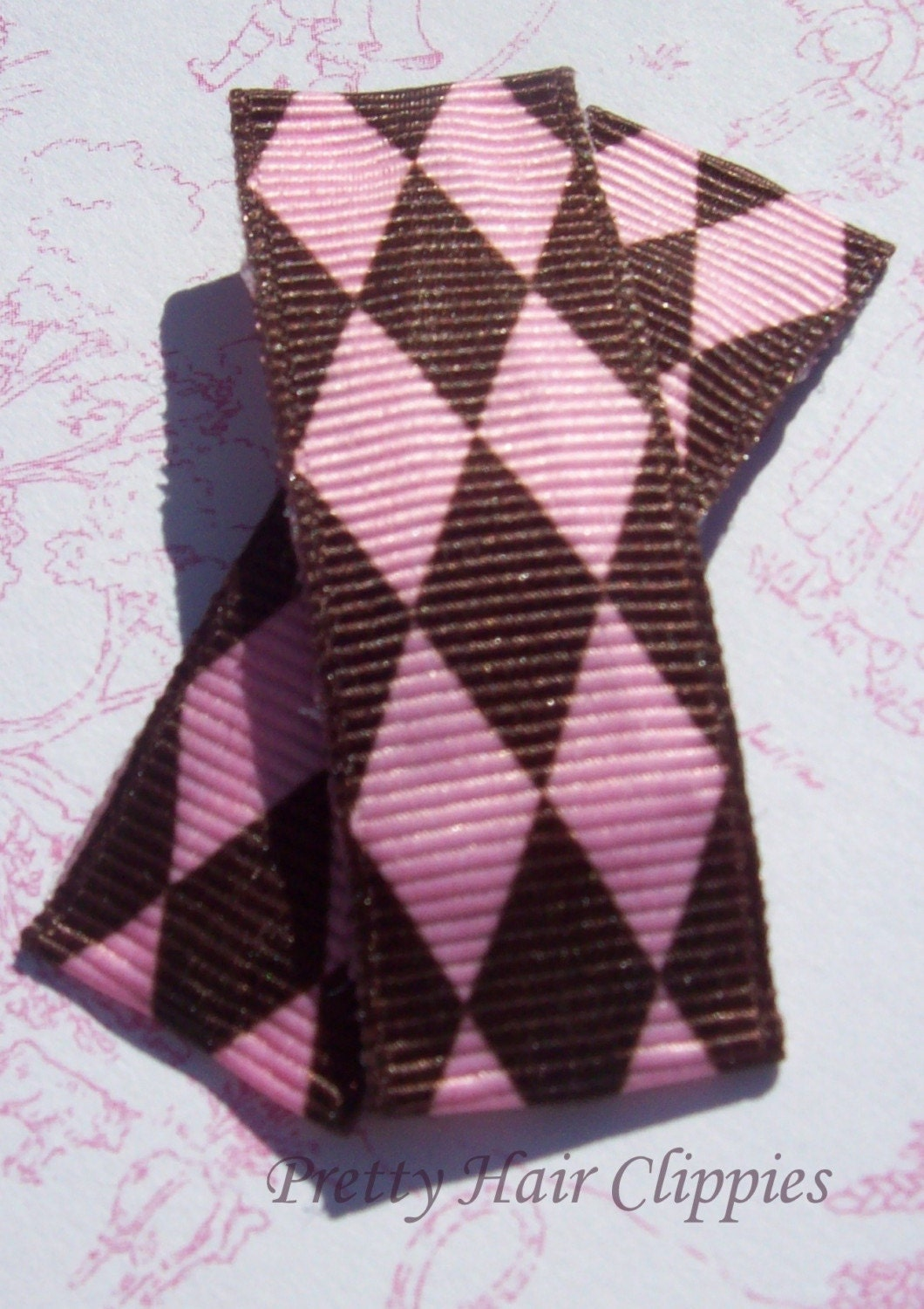 Urban Diamonds Brown and Pink Hair Clip - Set of 2