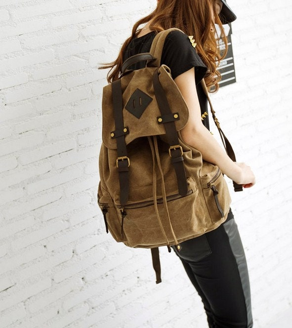 "13"" x 17"" laptop bag/ Light-coffee Canvas-Leather Backpack/ Canvas backpack/Handmade bag/School bag"
