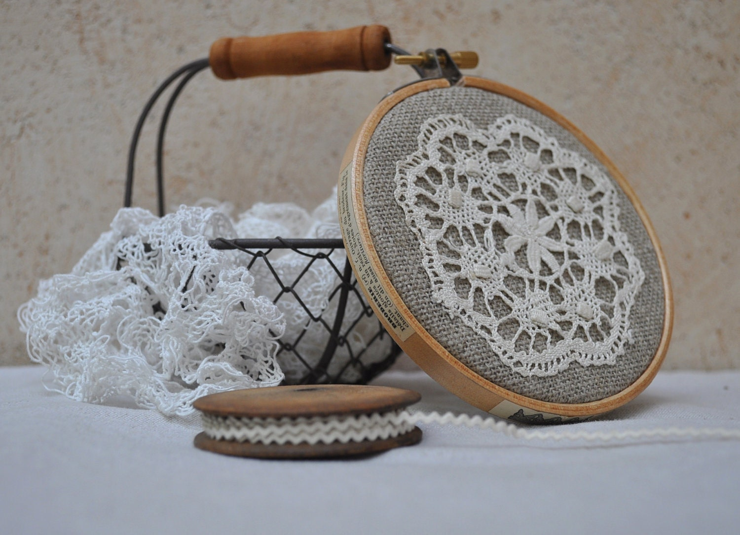 Embroidery hoop upcycled wall hanging vintage french by tialys