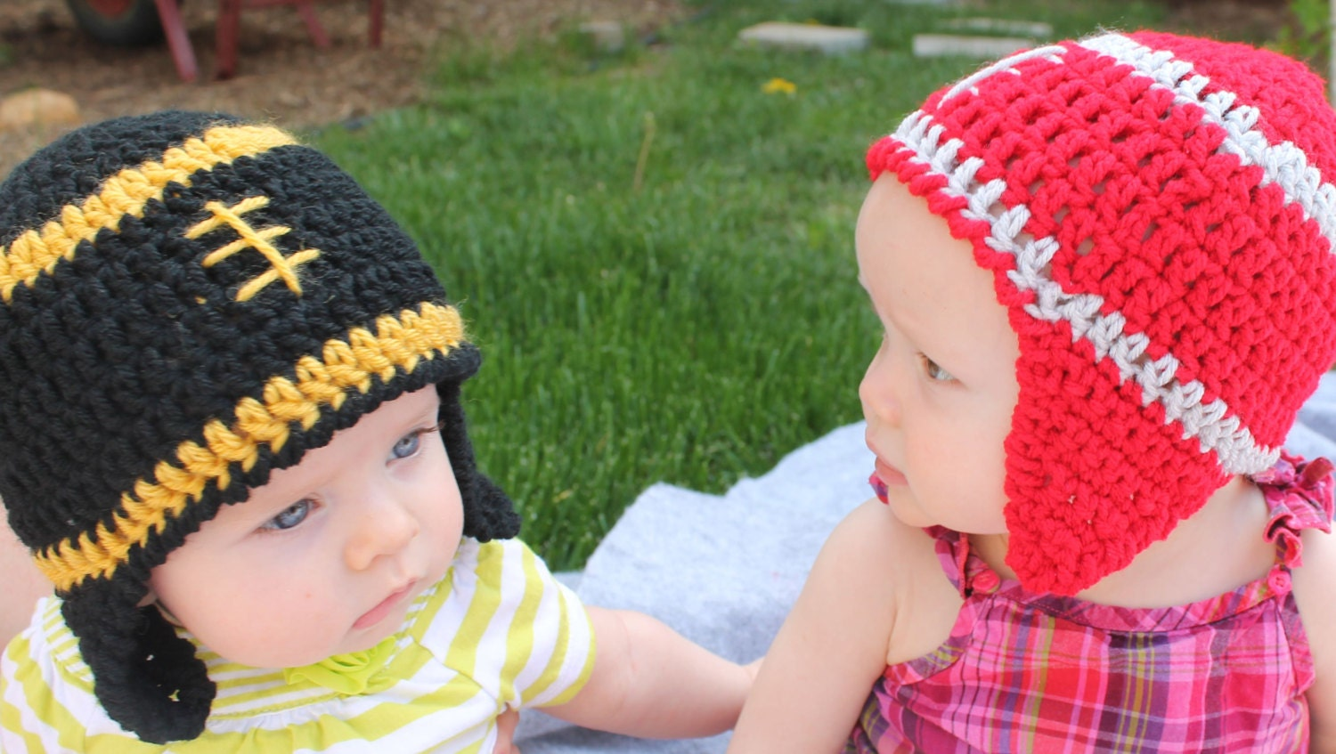 Football Baby Hats made in the College or NFL colors of your choice Photography Prop Baby Shower Gift - sunshineknitandsew