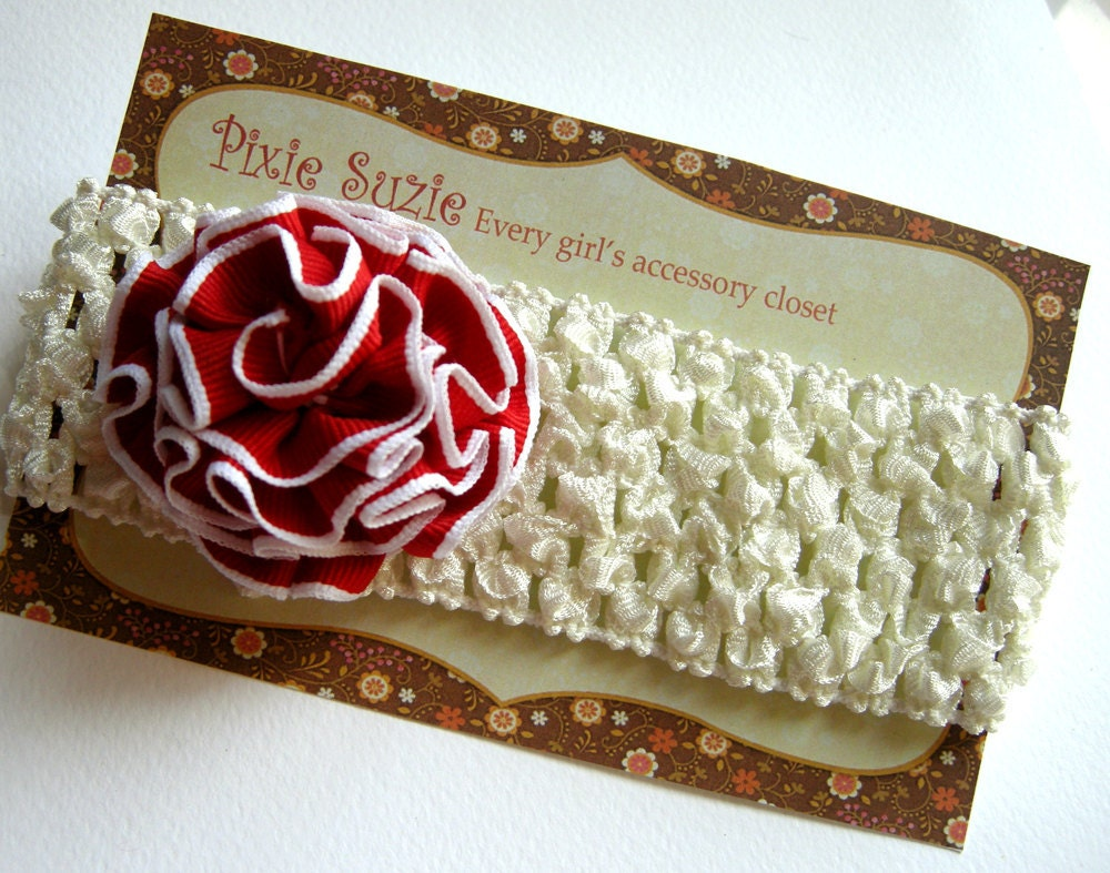 Jamie - Pretty red ruffled blossom on cream tone crochet headband