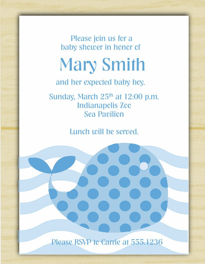 Blue Polkadot Whale Baby Shower Invitation (set of 10)