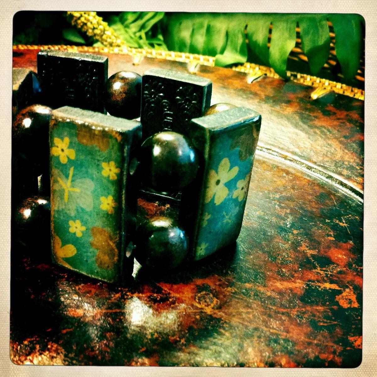 Blue Vintage Floral Domino Bracelet