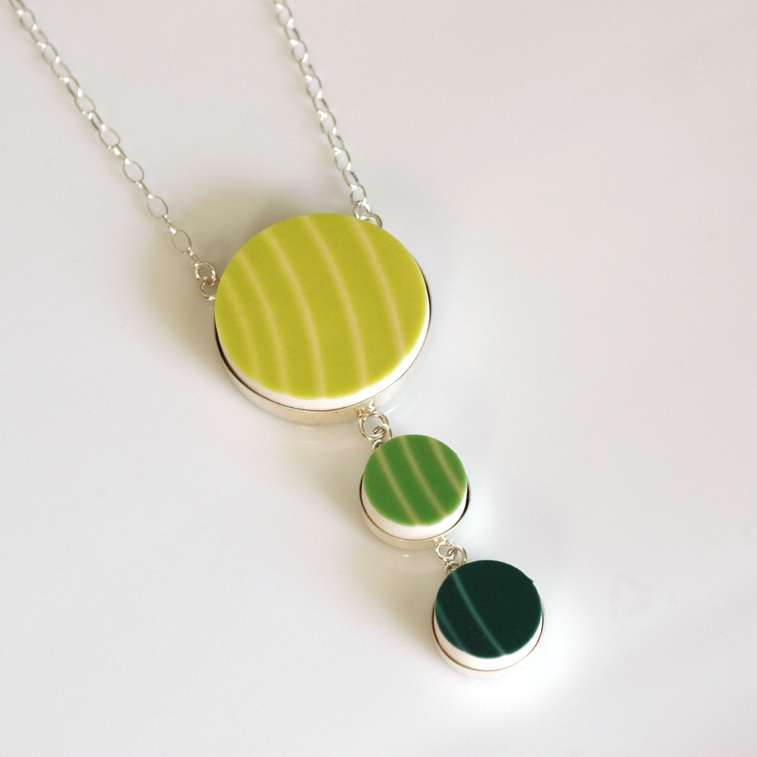 3 Piece Drop Sterling Silver Recycled China Necklace - Lemongrass, Shamrock, Chartruse