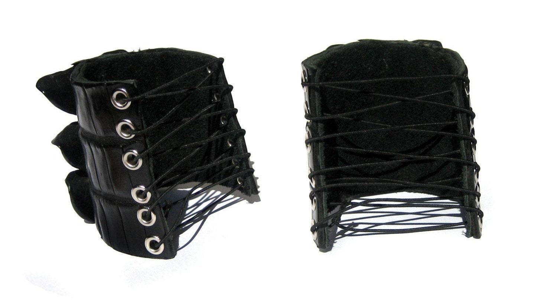 Black Alligator Tail Lace Up Cuff