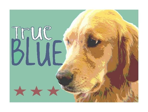 GOLDEN RETRIEVER ART CARD Signed Dog Print CUTE GOLDEN LAB Fun DOG