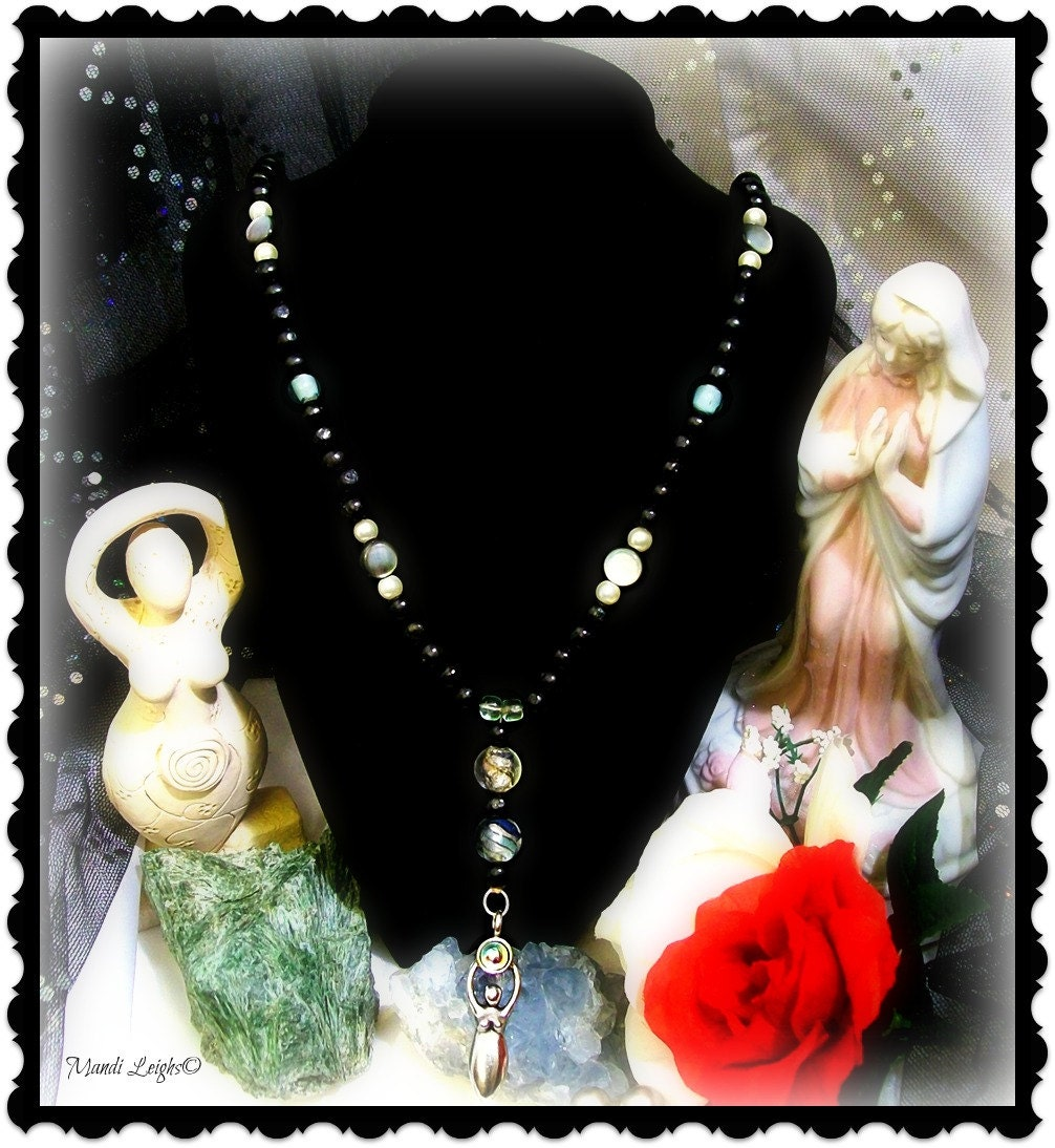 Spiritual Intuition Black Tulsi Pagan Goddess Rosary Prayer Beads